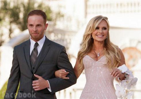 Tamra Barney walks with son Ryan Vieth on her wedding day