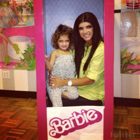 Teresa Giudice and daughter Audriana at her Barbie themed 4th birthday party