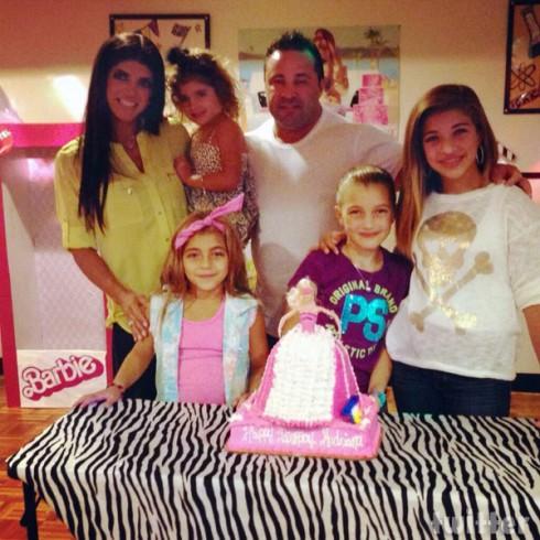 Teresa Giudice family photo with Joe and the children at Audriana's fourth birthday party