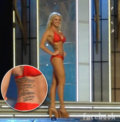 Miss Kansas Theresa Vail tattoo Miss America swimsuit prelims