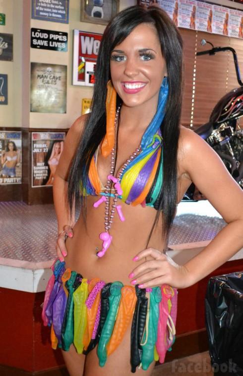 Redneck Heaven ABC Kristyn Cole bikini made out of condoms