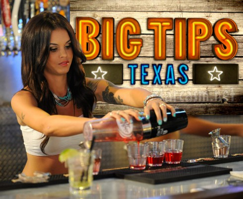 Big Tips Texas Morgan Adler at the bar mixing drinks at Redneck Heaven