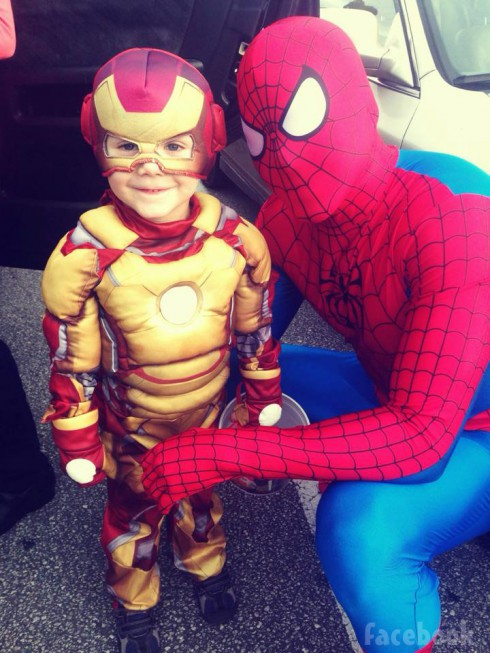 Jace Evans Iron Man costume Nathan Griffith as Spider-Man Halloween 2013