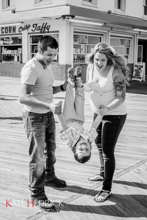 Kail Javi and Isaac on the boardwalk at the beach