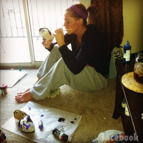 Kristyn Cole painting shoes for The Kristyn Cole Collection