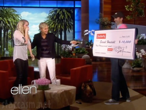Ruby Tuesday Waitress Sarah Hoidahl gets $10,000 check from Ellen DeGeneres
