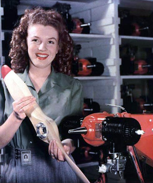 Young Marilyn Monroe with Brown Hair for Yank Army Weekly