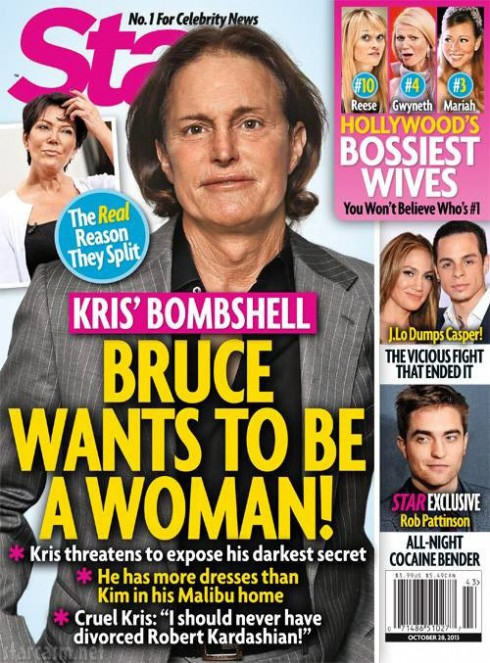 October 2013 Star magazine cover Bruce Jenner wants to be a woman, transgender corss-dresser