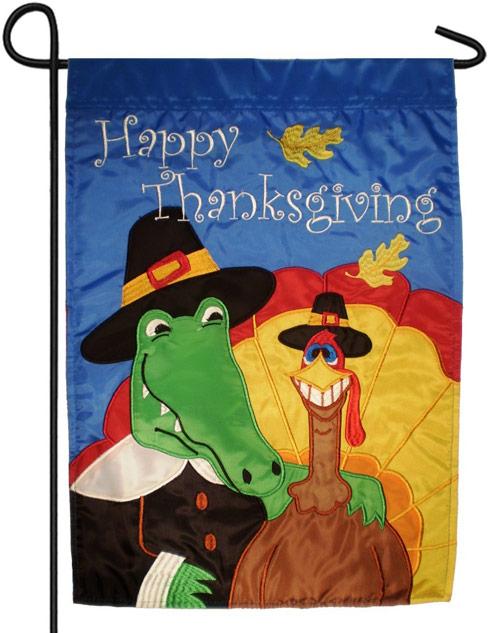 Alligator turkey Thanksgiving flag Swampsgiving
