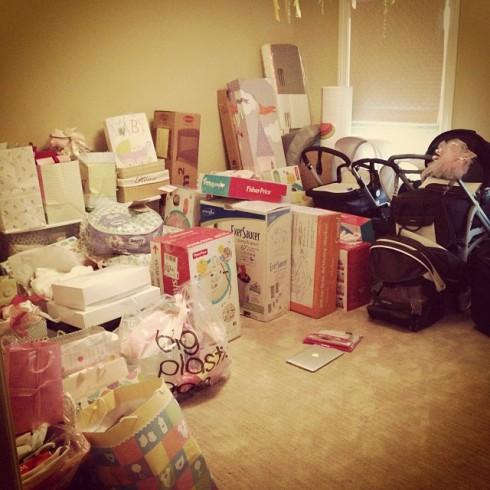 Danielle Jonas baby shower gifts opened