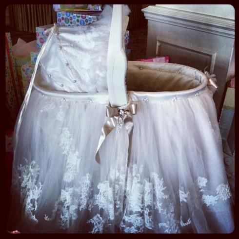 Danielle Jonas wedding dress bassinet