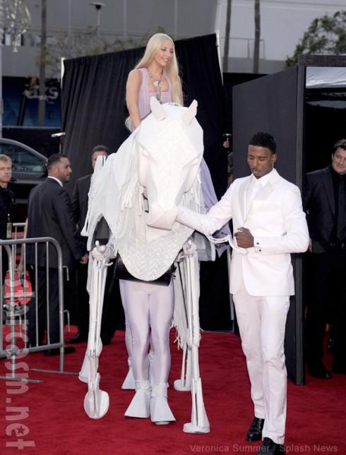 Lady Gaga riding a horse at American Music Awards red carpet