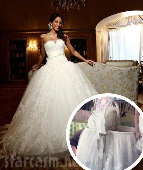 Danielle Jonas wedding dress bassinet photo