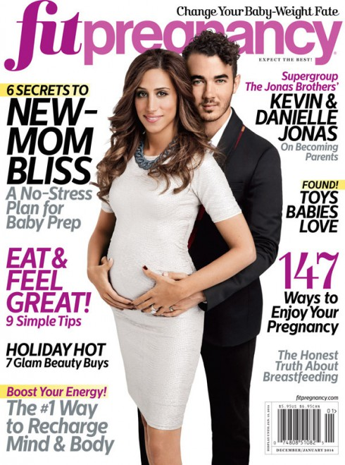 Kevin Jonas and Danielle Jonas on the cover of Fit Pregnancy magazine
