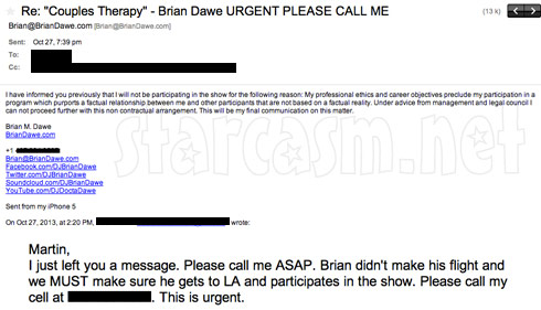 Brian Dawe's email to VH1 about Couples Therapy and his faked relationship with Farrah Abraham