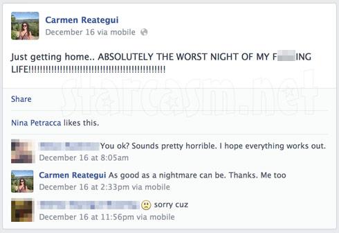 Carmen Reategui Facebook post about DWI arrest