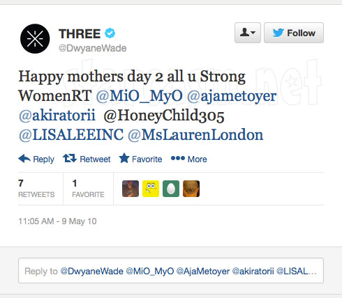 Dwyane Wade tweet to Aja Metoyer Happy mothers day 2 all u Strong WomenRT @MiO_MyO @ajametoyer @akiratorii  @HoneyChild305 @LISALEEINC @MsLaurenLondon