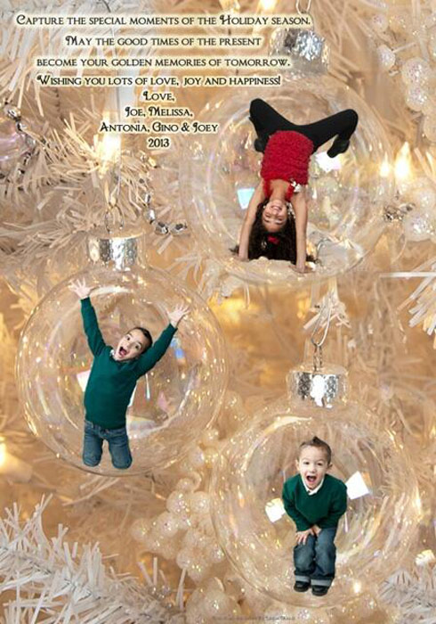 Melissa Gorga's children Antonia Gino and Joey Christmas card 2013 ornaments