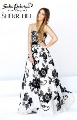 Sadie Robertson in Sherri Hill prom dress style 11083 black and white