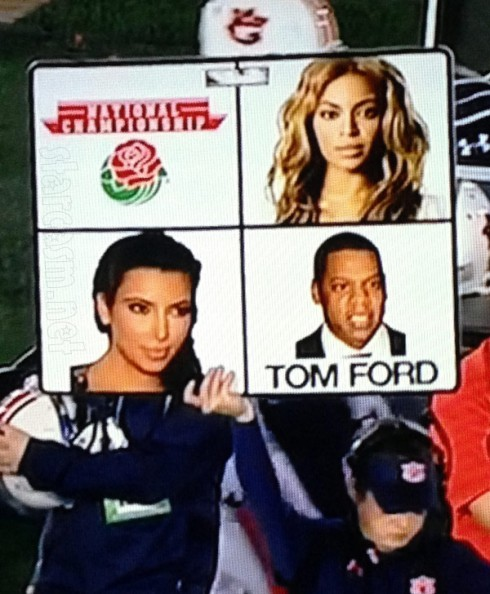 Auburn calls plays frmo sideline with Beyonce Jay-Z Kim Kardashian photos at Rose Bowl