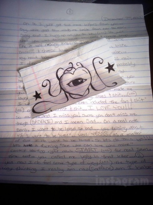 Love letter written by Courtland Rogers while in prison to girlfriend Samantha Ferrell