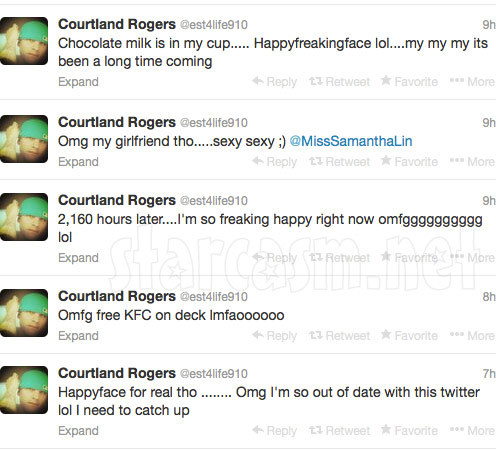 Courtland Rogers tweets after getting out of out of prison