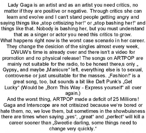 Lady Gaga Do What You Want comment