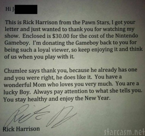 Pawn Stars - Rick Harrison Note