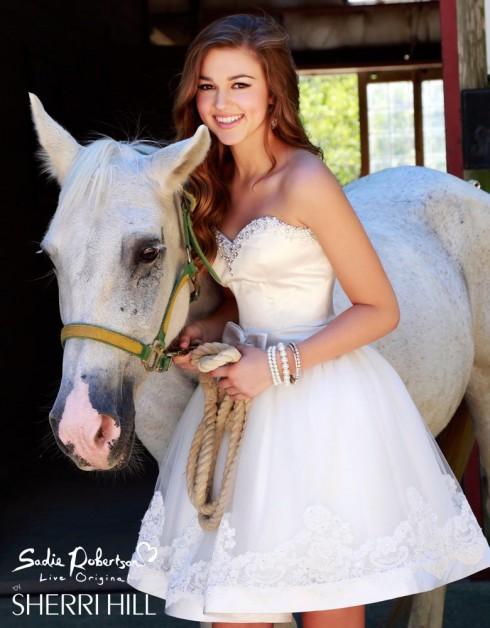 Sadie Robertson prom dress horse photo