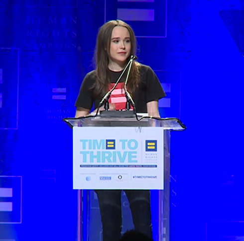 Ellen Page comes out during Time To Thrive speech