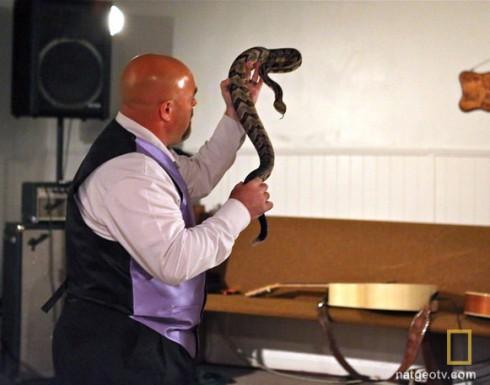 Snake Salvation Pastor Jamie Coots handling a rattlesnake