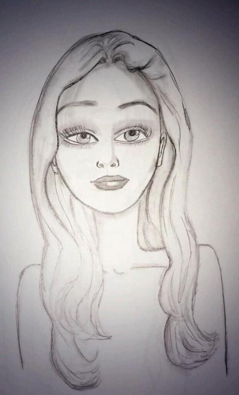Amanda Bynes Self-Portrait Sketch