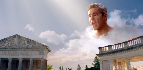 Andy Cohen as Himeros or Zeus in Lady Gaga GUY video
