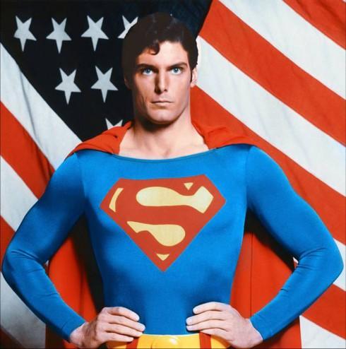 Christopher Reeves Superman American Flag