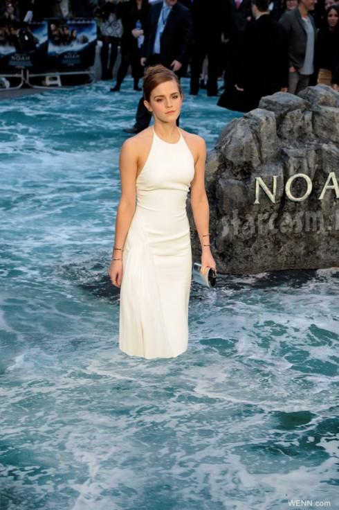 Emma Watson Noah premiere UK flood carpet underwater