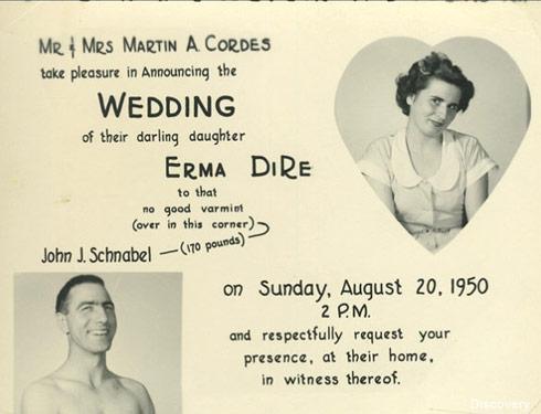 Gold Rush Parker Schnabel's Grandpa John Schnabel wedding announcement 1950 throwback photo
