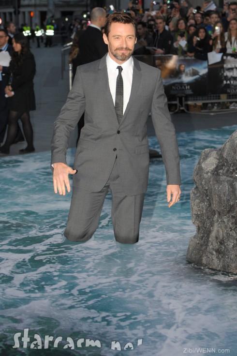 Hugh Jackman UK Noah premiere water red carpet flood carpet