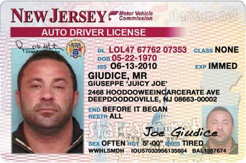 Giuseppe Joe Giudice New Jersey driver's license