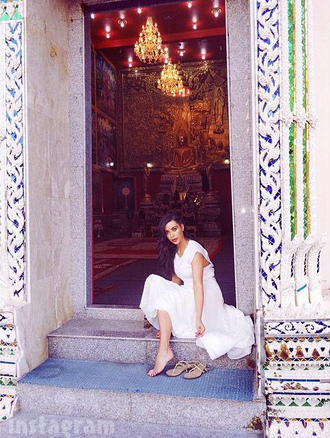 Kim Kardashian Buddhist temple etiquette