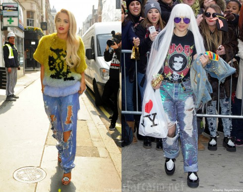Rita Ora - Lady Gaga - Distressed Denim