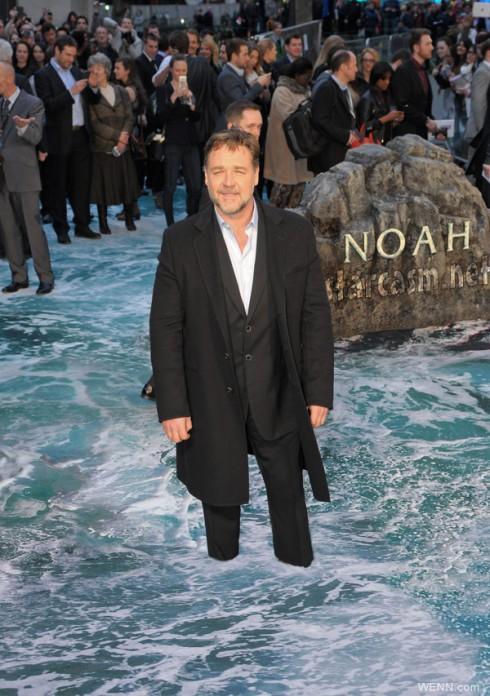 Russell Crowe Noah UK premiere flood carpet under water