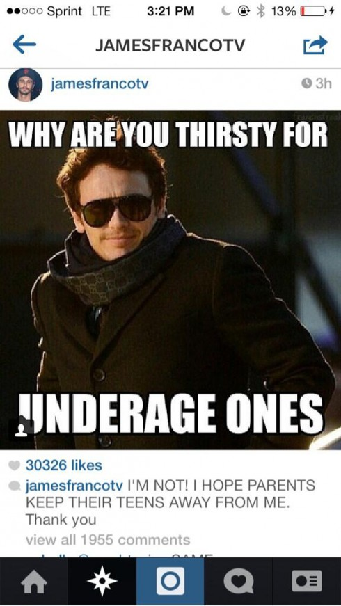 James Franco Thirsty for Teens
