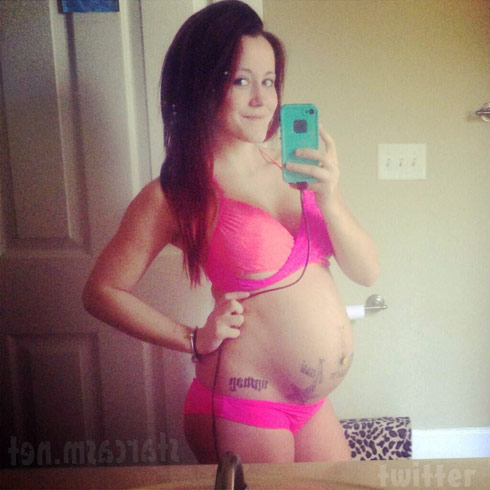 Jenelle Evans baby bump photo in a pink bikini at 29 weeks