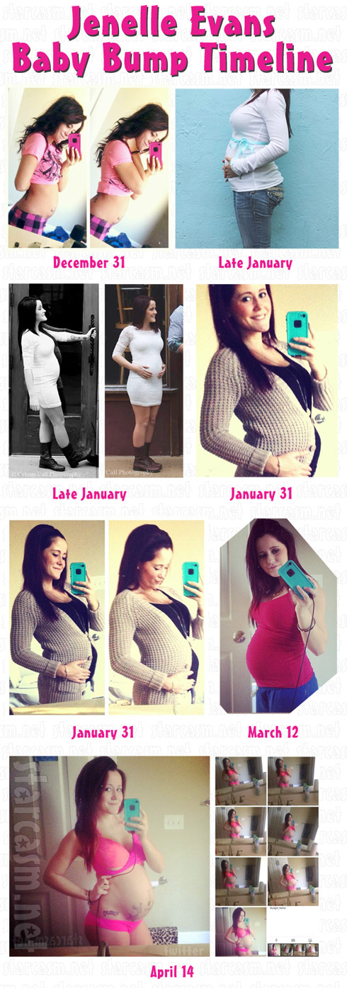 Jenelle Evans baby bump photos timeline - click to enlarge