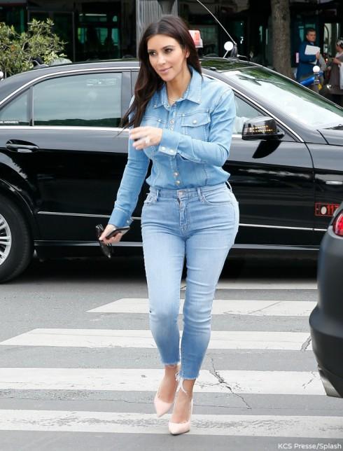 Kim Kardashian Paris Denim-on-Denim