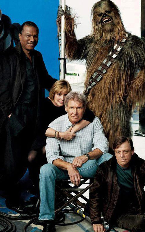 Star Wars Episode 7 cast photo 2014 Harrison Ford Carrie Fisher Mark Hamill