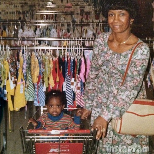 Kandi Burruss Mama Joyce throwback photo Kmart shopping cart