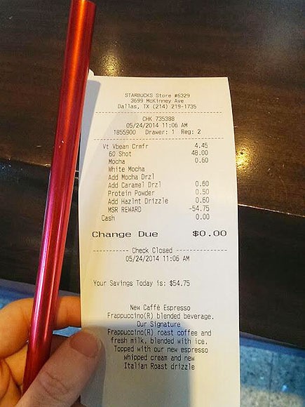 Most Expensive Starbucks Receipt