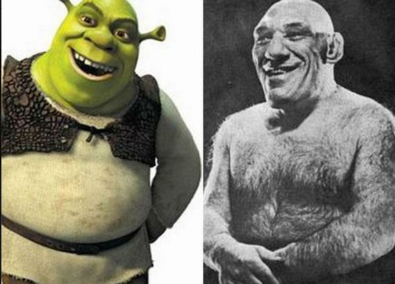 Shrek was based on a real person, French wrestler Maurice Tillet