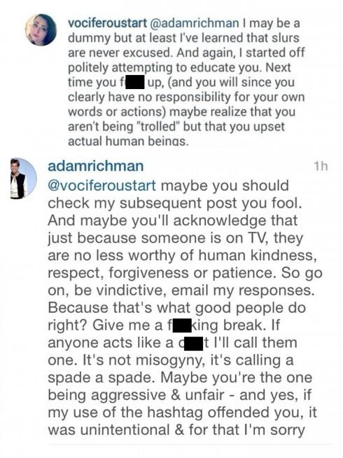 Adam Richman Instagram Feud